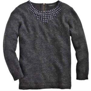 J. Crew Jeweled Starburst Grey with Blue Sweater